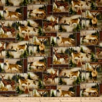 Kanvas Lodge Life Scenic Deer Patch Brown