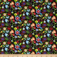 Benartex Awaken the Day Folky Floral Black/Multi