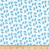Riley Blake Sweet Baby Boy Feet Light Blue
