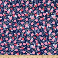 Riley Blake Designs-Lets Be Mermaids Floral Navy Sparkle