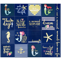 "Riley Blake Lets Be Mermaids 36"" Panel Navy Sparkle"