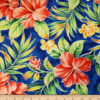 Trans-Pacific Textiles Hawaiian Hibiscus Palm Royal