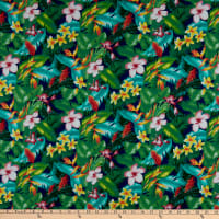 Trans-Pacific Textiles Hawaiian Small Hibiscus Tropical Navy