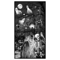 Blank Quilting Ghoulish Gathering (Glow In The Dark) Panel - 24 Inches Black