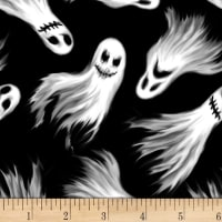 Blank Quilting Ghoulish Gathering (Glow In The Dark) Ghosts Black