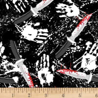 Blank Quilting Ghoulish Gathering (Glow In The Dark) Bloody Knives & Hands Black
