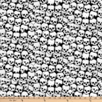 Blank Quilting Ghoulish Gathering (Glow In The Dark) Stacked Skulls Black