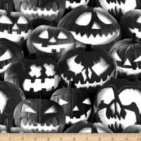 Blank Quilting Ghoulish Gathering (Glow In The Dark) Stacked Pumpkins Black