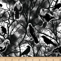 Blank Quilting Ghoulish Gathering (Glow In The Dark) Crows Black