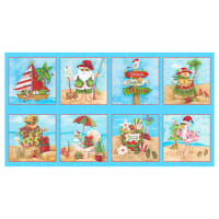 "Holiday Beach Panel 24"" Blocks Blue"