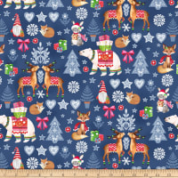 Nordic Forest Decorative Animals Dark Blue