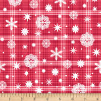Nordic Forest Snowflake On Plaid Red