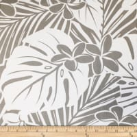 Trans-Pacific Textiles Hawaiian Monstera Plumeria Grey