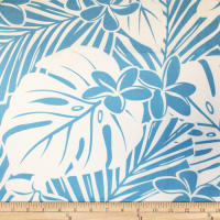 Trans-Pacific Textiles Hawaiian Monstera Plumeria Sky
