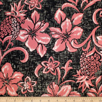 Trans-Pacific Textiles Hawaiian Retro Pineapple Pareo Black