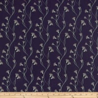 Clothworks Secret Garden Stripe Navy Blue