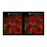 "Clothworks Poppy Poetry 24"" Panel Red"