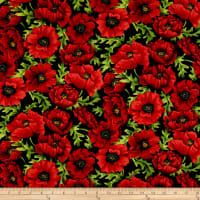 Clothworks Poppy Poetry Toss Red