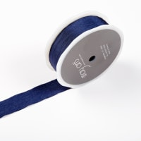 "1"" Faux Silk Wrinkled Ribbon, Navy (Roll, 50 yards)"