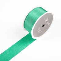 "1.5"" Faux Silk Wrinkled Ribbon Green (Roll, 50 yards)"