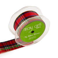"1.5"" Tartan Plaid Ribbon, Red/Green/Gold (roll,30 yards)"