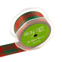 "1.5"" Tartan Plaid Ribbon Olive (Roll, 30 yards)"
