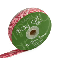 "3/4"" Twill Chevron Stripes Ribbon Red/Ivory (30 yard Spool)"