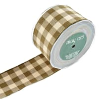 "2.5"" Woven Picnic Plaid Ribbon, Green/Natural (Roll, 20 yards)"