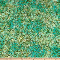 Anthology Batiks Old Guitarist Art Inspired Swirl Teal