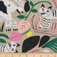 Cloud9 Organic Wild Jungle Forest Barkcloth Tan/Multi