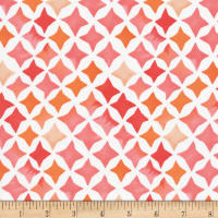 Cloud9 Fabrics Organic Field & Sky Sunset Stars Cotton Sateen Pink/White