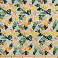 Cloud9 Fabrics Organic Field & Sky Emerald Triangles Cotton Sateen Green/Pink Multi