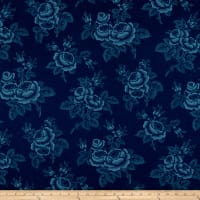 Abigail Blue Large Floral Navy Blue