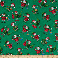 Windham Fabrics Holly Jolly Christmas Elves Green