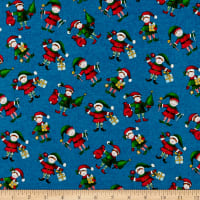 Windham Fabrics Holly Jolly Christmas Elves Blue