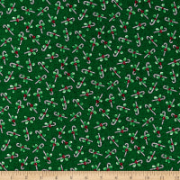 Windham Fabrics Holly Jolly Christmas Candy Canes Green