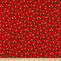 Windham Fabrics Holly Jolly Christmas Candy Canes Red
