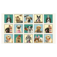 "Doggie Drama 24"" Novelty Dog Panel Cream"