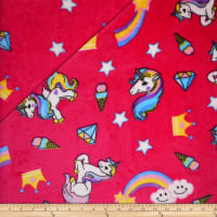 Plush Fleece 2 Sided Unicorn Fuschia