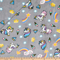 Plush Fleece 2 Sided Unicorn Grey