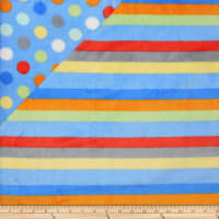 Plush Fleece 2 Sided Stripe Dot Blue