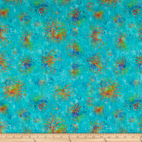 QT Fabrics Evolution Radiance Splatter Cyan