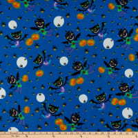 QT Fabrics  Creepy Halloweenies Cat Bat Toss Denim