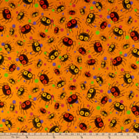QT Fabrics  Creepy Halloweenies Spiders Orange