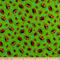 QT Fabrics  Creepy Halloweenies Spiders Lime