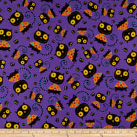 QT Fabrics  Creepy Halloweenies Cats Purple