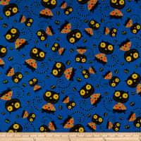 QT Fabrics  Creepy Halloweenies Cats Denim