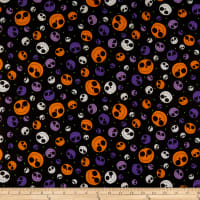 QT Fabrics  Creepy Halloweenies Pumpkins Black