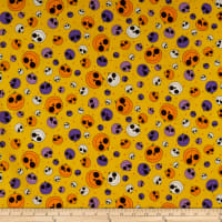 QT Fabrics  Creepy Halloweenies Pumpkins Yellow