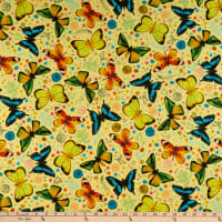 QT Fabrics  Fly Free Tossed Butterflies Yellow